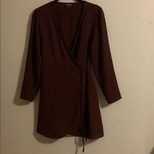 Topshop tie waste dress w/button detail